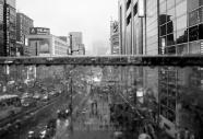 From a bridge in Shinjuku main street.