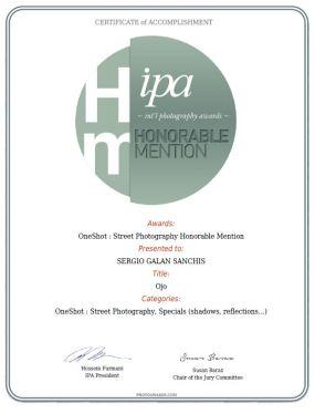certificado OJO STREET PHOTOGRAPHY, SPECIALS (SHADOWS REFLECTIONS...)